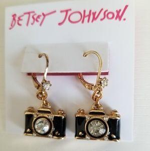 Betsey Johnson Black Camera earrings